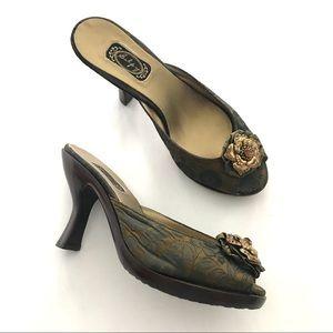 Slip On Peep Toe Mule Heels by Salpy - Size 7.5